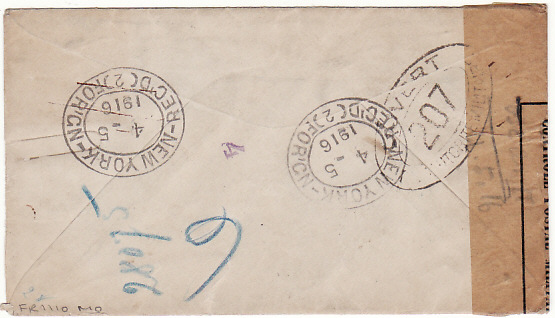 [18671]  USA - AUSTRIA…WW1 REGISTERED & CENSORED in FRANCE  1916 (Apr 5)