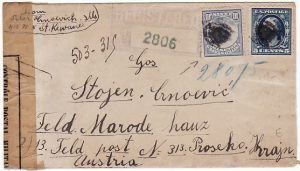USA - AUSTRIA…WW1 REGISTERED & CENSORED in FRANCE