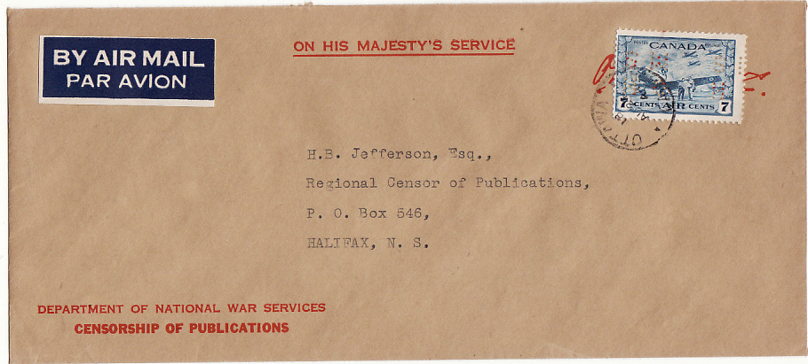 [16897]  CANADA...WW2 OHMS CENSORSHIP OF PUBLICATIONS STATIONARY  1944(Aug 24)