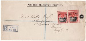 SAINT HELENA-GB [WW1 REGISTERED WAR TAX]