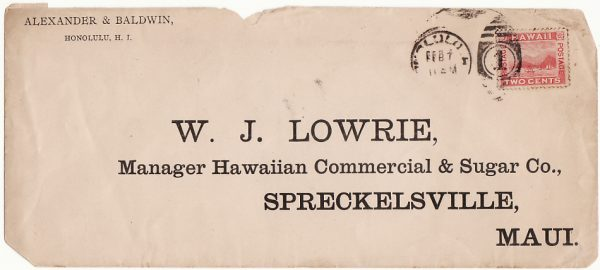 HAWAII...1900 INTERNAL  with CLIPPED CORNERS for DISINFECTION...