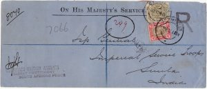 SOUTH AFRICA - INDIA..BOER WAR REGISTERED OHMS INDIAN CONTINGENT MAIL ...