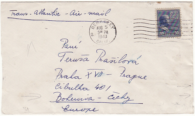 [16401]  USA-CZECHOSLOVAKIA [PREXIE - CENSORED - AIRMAIL]  1940(Aug 5)