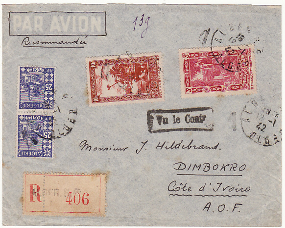 [16589]  ALGERIA-IVORY COAST...WW2-CENSORED-REGISTERED-AIRMAIL 1942(Jan 12)