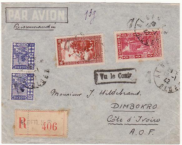 ALGERIA-IVORY COAST...WW2-CENSORED-REGISTERED-AIRMAIL