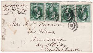 USA - NEW ZEALAND….1875 EARLY MAIL..