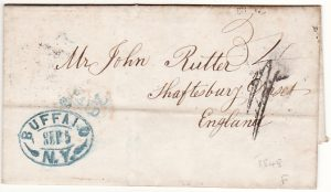 USA-GB [1848 PRE-STAMP BUFFALO to SHAFTSBURY DORSET]