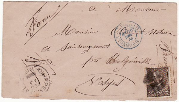 USA-FRANCE [1886 CHIPPEWALLS WIS. To SOLES]