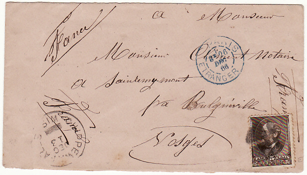 [17150]  USA-FRANCE [1886 CHIPPEWALLS WIS. To SOLES]  1886(Dec 13)
