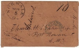 USA-CANADA [1851 TURNED & REUSED ENVELOPE to PORT ROWAN]