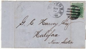 USA-CANADA [1861 Scott 68 10c GREEN NEW YORK to HALIFAX ]