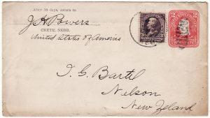 USA-NEW ZEALAND [1903 WASHINGTON 2c STATIONARY ENVELOPE with 3c BUREAU to N.Z]