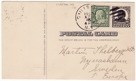 [17190]  USA-SWEDEN [UPRATED McKINLEY ADVERTISING POSTAL CARD to SWEDEN]  1909 (Apr 5)