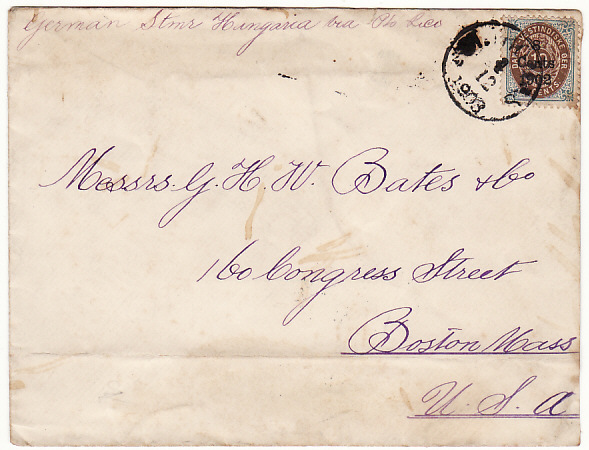 [17194]  DANISH WEST INDIES-USA [1903 ST. THOMAS to BOSTON]  1903 (Dec 1)