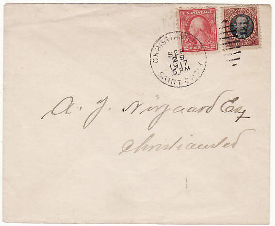 [17195]  DANISH WEST INDIES [1917 COMBINATION D.W.I. & USA on ENVELOPE]  1917 (Sep 29)