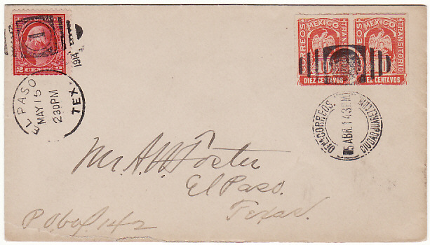 [17202]  MEXICO-USA [1914 COMBINATION COVER STRADDLING PERIOD OF US INTERVENTION]  1914(Apr 5)