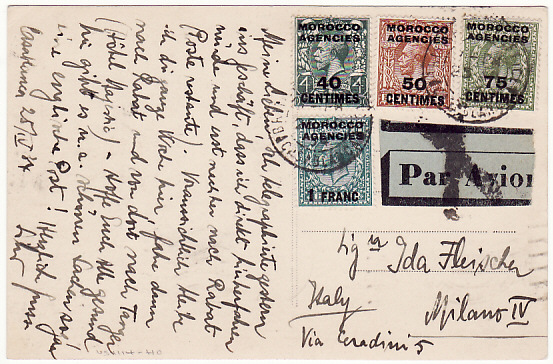 [18685]  MOROCCO AGENCIES - ITALY…POSTCARD by AIRMAIL …  1934 (Apr 25)