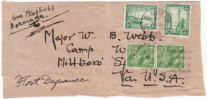 [16576]  BERMUDA-USA [WW2-CENSORED WRAPPER]  1944(Jul 25)