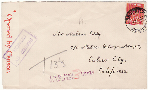 [17101]  AUSTRALIA-USA [WW2 CENSORED TAXED from BROOKTON W.A.]  1941 (Oct 27)