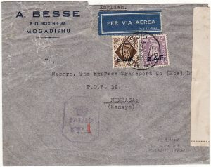 B.O.F.I.C....ITALIAN SOMALILAND CENSORED AIRMAIL to KENYA...