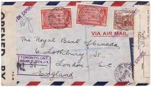 CANADA - GB…WW2 REGISTERED CENSORED AIRMAIL…