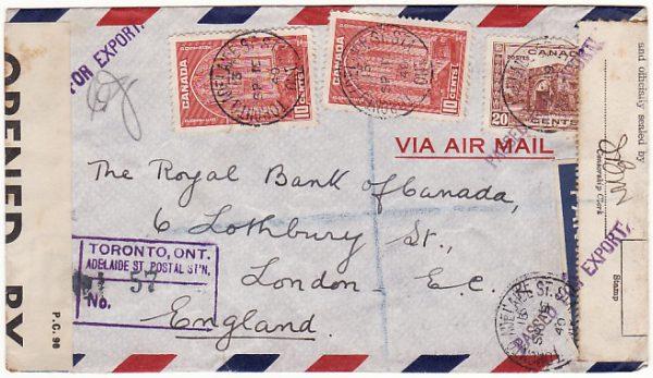 CANADA - GB…WW2 REGISTERED CENSORED AIRMAIL…