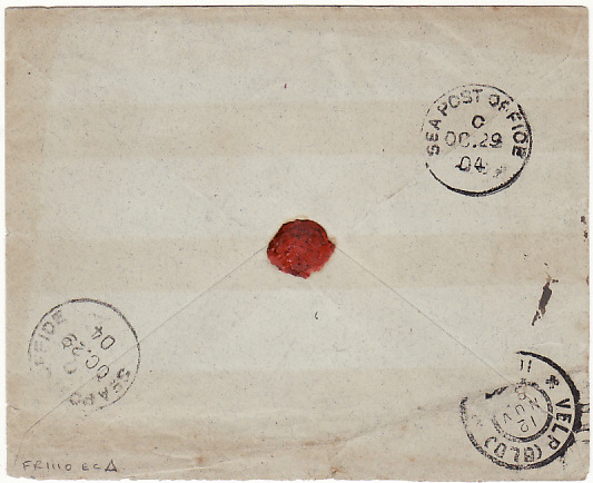 [15391]  INDIA - NETHERLANDS…1904 MILITARY MAIL REGISTERED AR...   1904 (Oct 26)