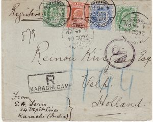 INDIA - NETHERLANDS…1904 MILITARY MAIL REGISTERED AR...