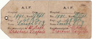 GB [HOSPITAL/AUSTRALIAN No 2 DEPOT/HAMMOCK TAG]