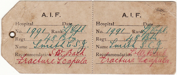 [15554]  GB [HOSPITAL/AUSTRALIAN No 2 DEPOT/HAMMOCK TAG]  1917(Aug 20)