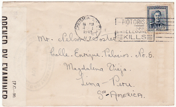 NEW ZEALAND-PERU [WW2-CENSORED]