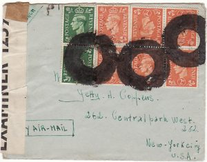 GB - USA...FREE BELGIAN ARMY in EXILE with BLOTTED OUT CANCELS - UNDERCOVER MAIL…
