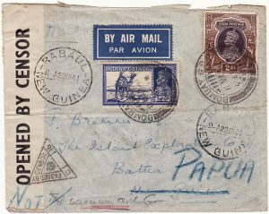 INDIA - NEW GUINEA...PAPUA WW2 AIRMAIL CENSORED….