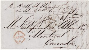 "GB -CANADA...1856 TRANS ATLANTIC MAIL by RMS ""AMERICA"" CUNARD LINE..."