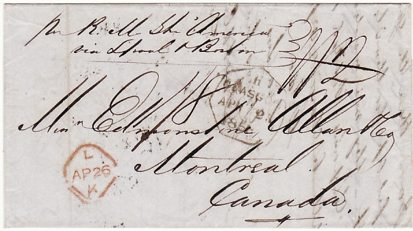 "[17958]  GB -CANADA...1856 TRANS ATLANTIC MAIL by RMS ""AMERICA"" CUNARD LINE...  1856 (Apr 25)"