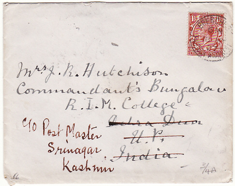 [17648]  GB - INDIA....1927 DEHRA DUN forwarded to KASHMIR...  1927 (May 17)
