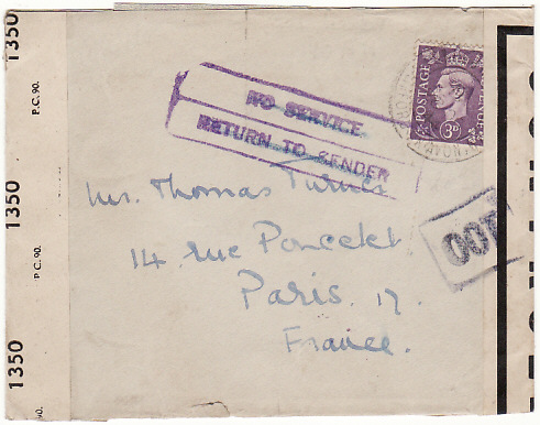 [18155]  GB - FRANCE...WW2 SERVICE SUSPENDED DELETED …  1944 (Oct 2)