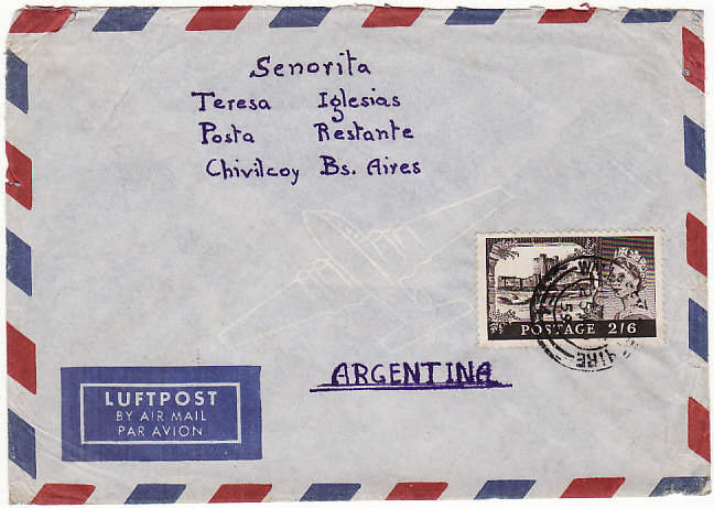 [18787]  GB - ARGENTINA …AIRMAIL at 2/6 RATE ....   1959 (Mar 25)