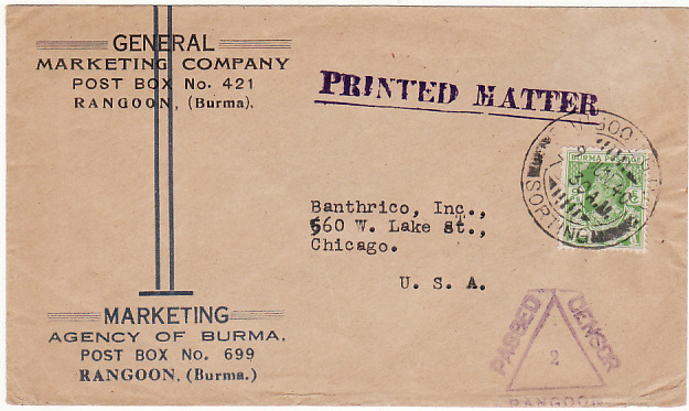 [18907]  BURMA -USA….WW2 CENSORED PRINTED MATTER.  1940 (Jun 9)