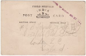 IRAQ - GB….WW1 FIELD SERVICE INDIA CARD.…..