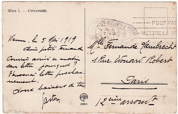 [17049]  AUSTRIA-FRANCE….1919 FRENCH MILITARY MISSION to AUSTRIA…  1919 (May 5)