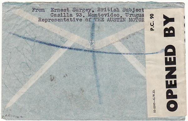[18124]  URUGUAY - GB...WW2 REGISTERED CENSORED AIRMAIL…  1942 (Jun 18)