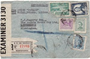 URUGUAY - GB...WW2 REGISTERED CENSORED AIRMAIL…