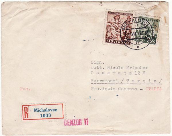 SLOVAKIA - ITALY…WW2 REGISTERED CENSORED…