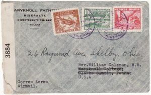 BOLIVIA  - USA…WW2 DOUBLE CENSORED in BOLIVIA & USA…