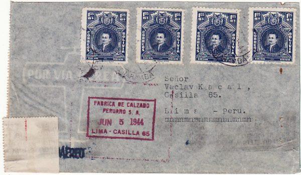 BOLIVIA - PERU..WW2 CENSORED AIRMAIL  ...