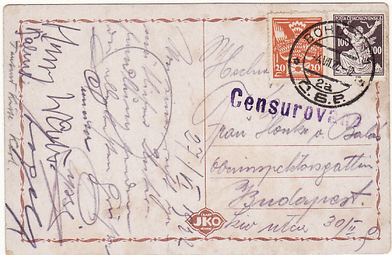 [18574]  CZECHOSLOVAKIA - HUNGARY..1922 CENSORED in UNSETTLED PERIOD ...   1922 (Jul 4)