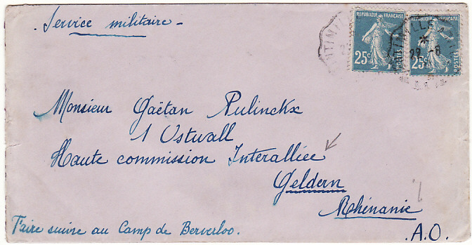 [18578]  FRANCE - BOHEMIA…POST WW1 INTER ALLIED COMMISSION….  1923 (Mar 22)