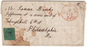 USA [1848 BOYD'S CITY EXPRESS POST 2 CENTS on NEW YORK to PHILADELPHIA ENTIRE]