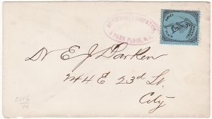 USA [c1883 Black on Blue BOYD'S DISPATCH / 1 PARK PLACE on LOCAL COVER]
